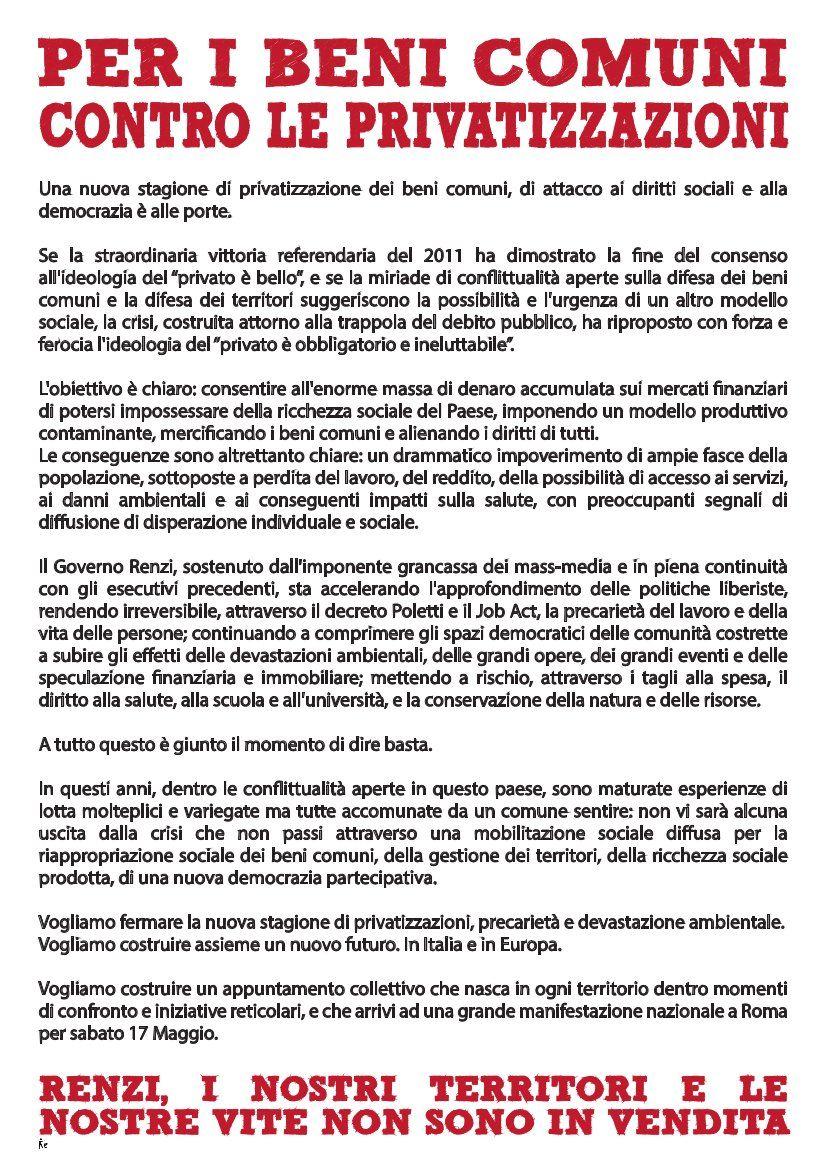 Manifestazione Roma 17 Maggio 2014